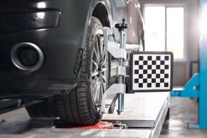 Alignment tool on vehicle tire